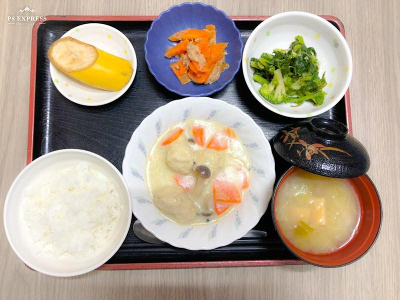 今日のお昼ごはんは、肉団子の豆乳煮、青じそ和え、炒め煮、みそ汁、果物でした。