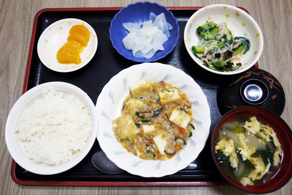 きょうのお昼ごはんは、家常豆腐・春雨サラダ・レモン大根・みそ汁・くだものでした。