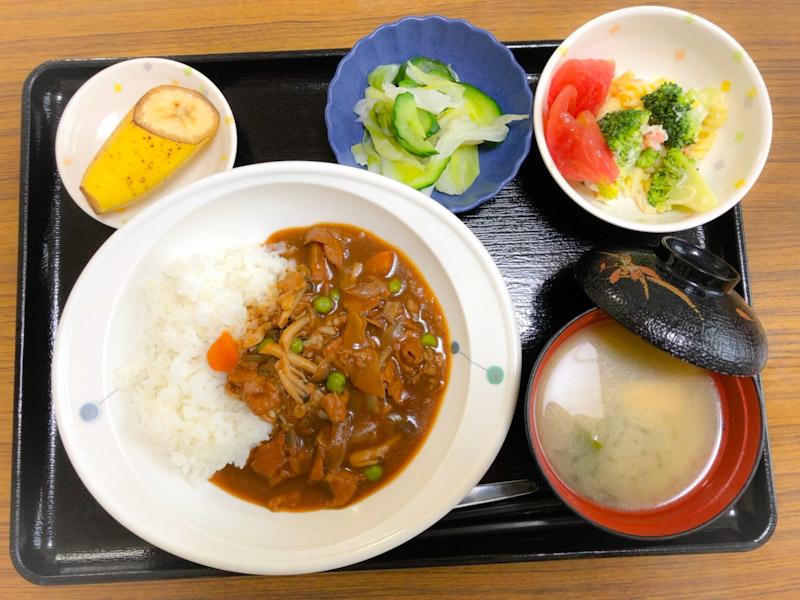 今日のお昼ごはんは、ハヤシライス、ゆで卵サラダ、浅漬け、みそ汁、果物でした。