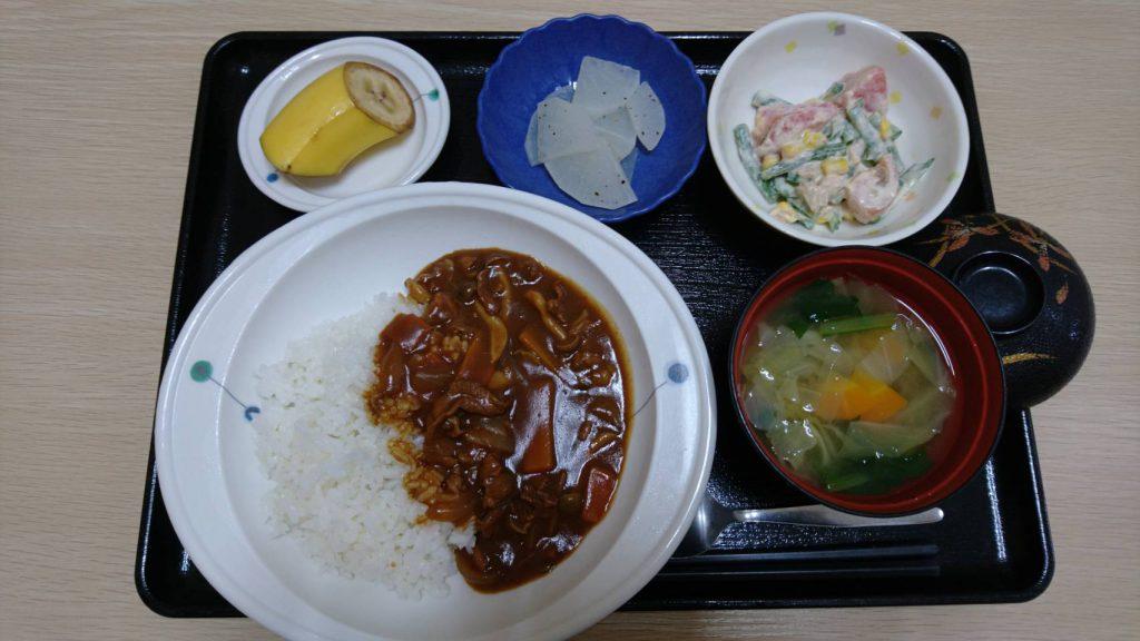 今日のお昼ご飯は ハヤシライス  夏野菜サラダ レモン大根 みそ汁 くだものです