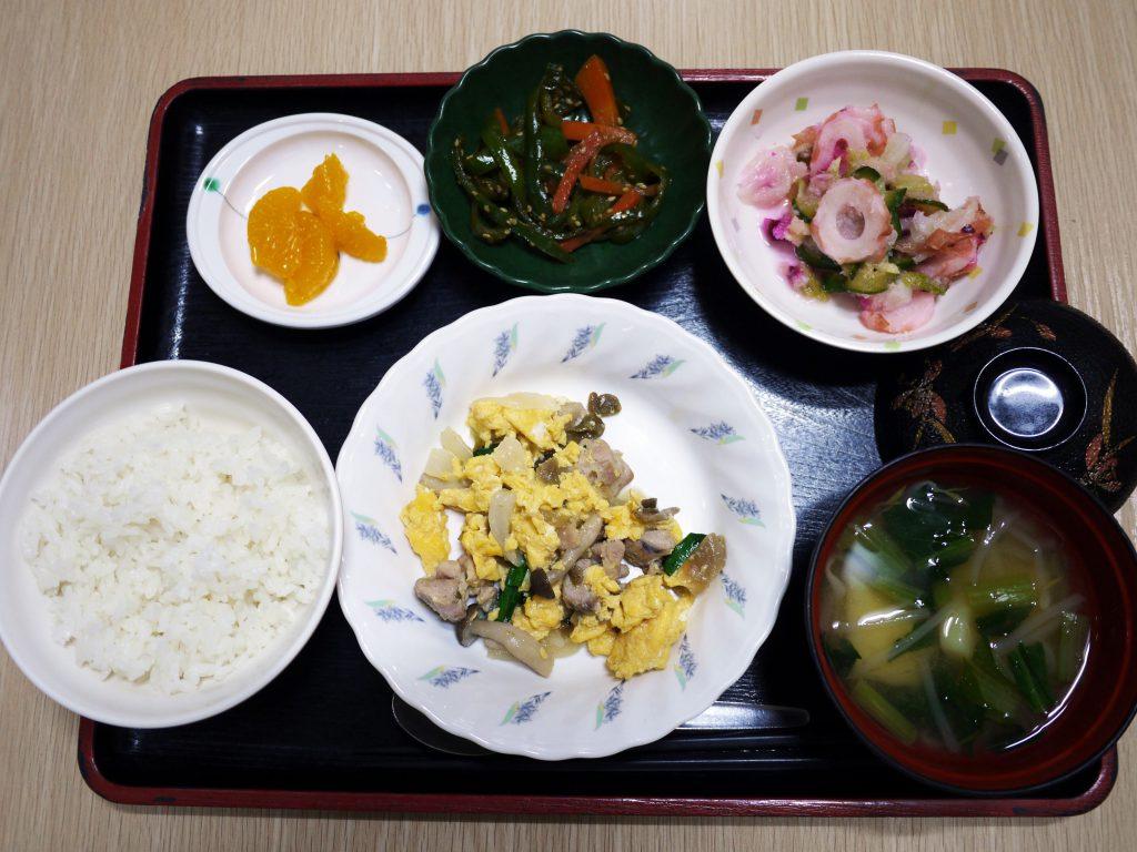 きょうのお昼ごはんは、鶏肉のザーサイ卵炒め、しば漬けおろし、ピーマンきんぴら、みそ汁、くだものでした。