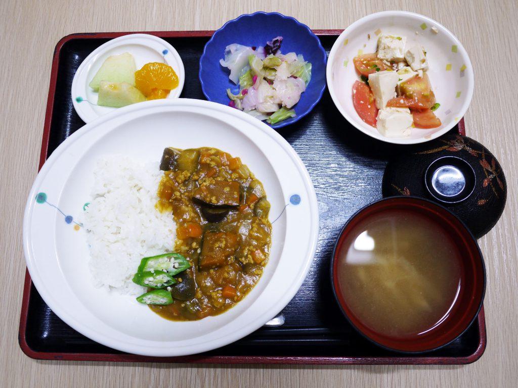 きょうのお昼ごはんは、夏野菜カレー、豆腐サラダ、浅漬け、みそ汁、果物でした。