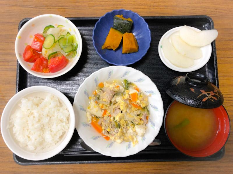今日のお昼ごはんは、ゴーヤチャンプル、サラダ、かぼちゃ煮、みそ汁、果物でした。