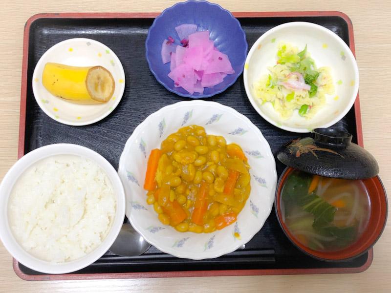 今日のお昼ごはんは、鶏肉と大豆のカレー煮、サラダ、しば漬け大根、みそ汁、果物でした。