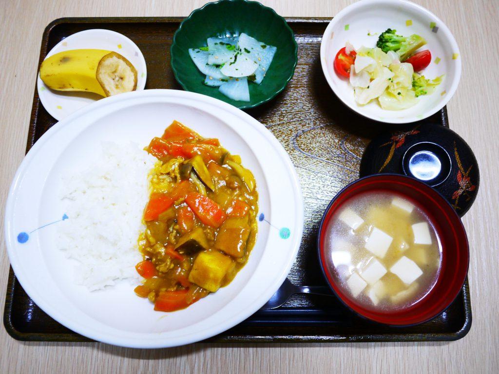 きょうのお昼ごはんは、おさつカレー・サラダ・浅漬け・みそしる・くだものでした。