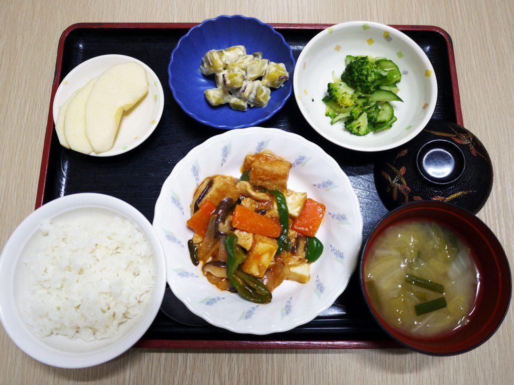 きょうのお昼ごはんは、鶏肉と厚揚げのケチャップ炒め・甘ずっぱおさつサラダ・生姜和え・みそ汁・くだものでした。