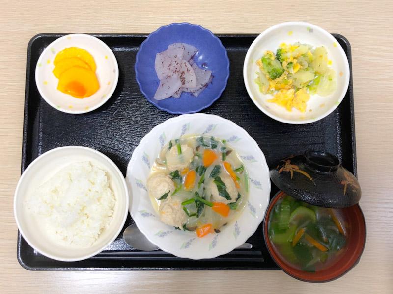 きのうのお昼ごはんは、肉団子のクリーム煮、サラダ、ゆかり大根、みそ汁、果物でした。