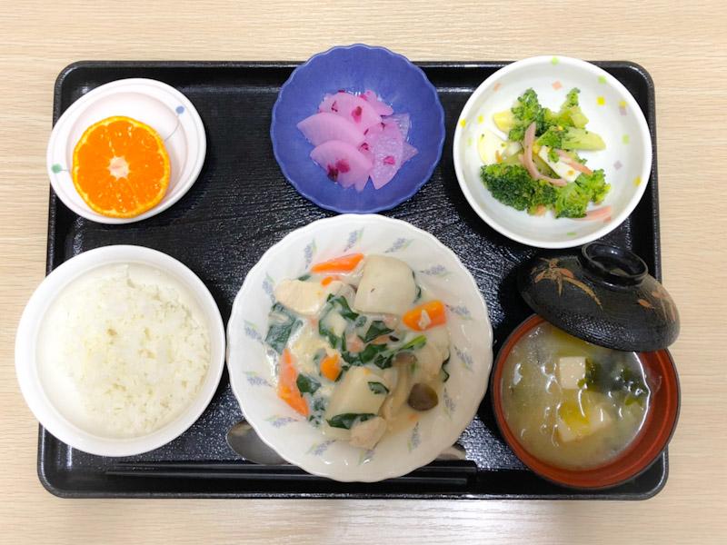 今日のお昼ごはんは、鶏肉と里芋のシチュー、サラダ、しば漬け大根、みそ汁、果物でした。