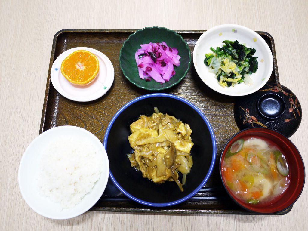 きょうのお昼ごはんは、厚揚げの和風カレー煮・焼きのり和え・しば漬け大根・みそ汁・くだものでした。