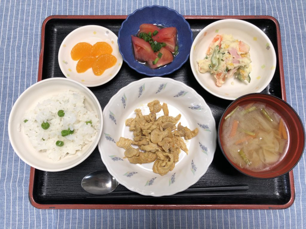 きょうのお昼ごはんは、タンドリーランチ・ポテトサラダ・冷やしトマト・スープ・くだものでした。