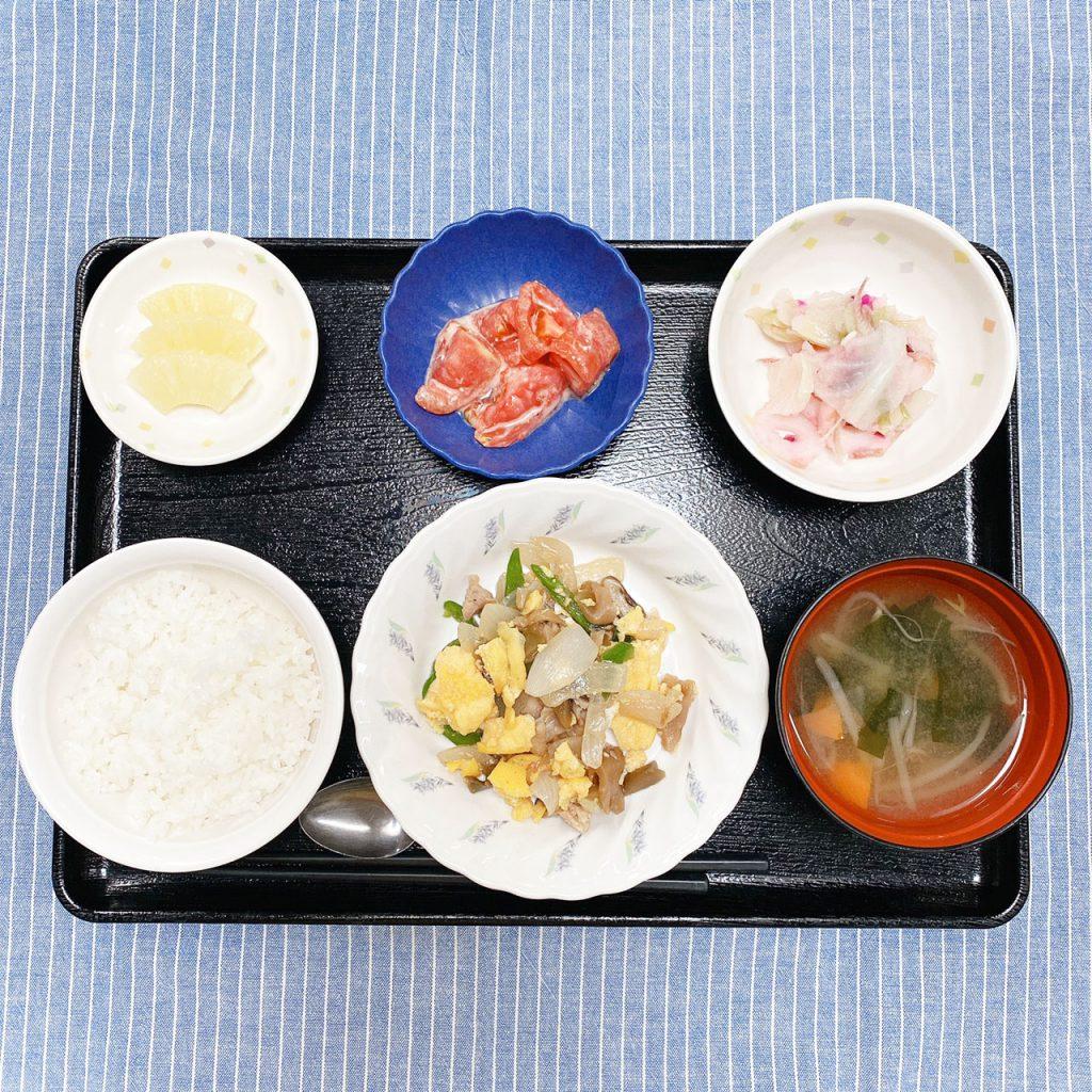鶏肉のザ―菜卵炒め・おろし和え・冷やしトマト・みそ汁・くだものでした。