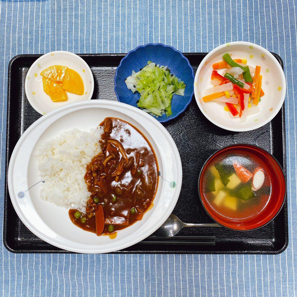 きょうのお昼ごはんは、ハヤシライス・カラフルサラダ・浅漬け・みそ汁・くだものでした。