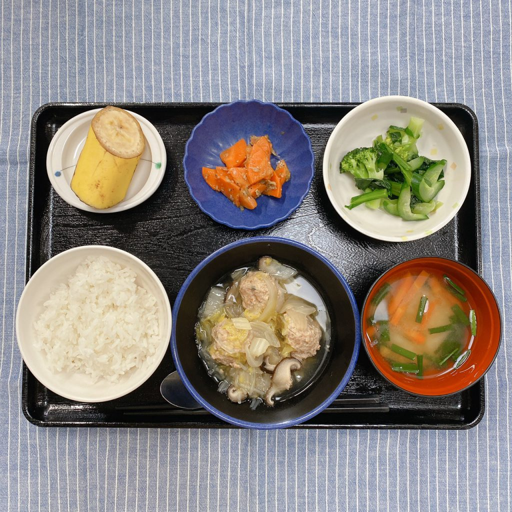 きょうのお昼ごはんは、肉だんごと白菜の煮物・からし和え・じゃこ人参・みそ汁・くだものでした。