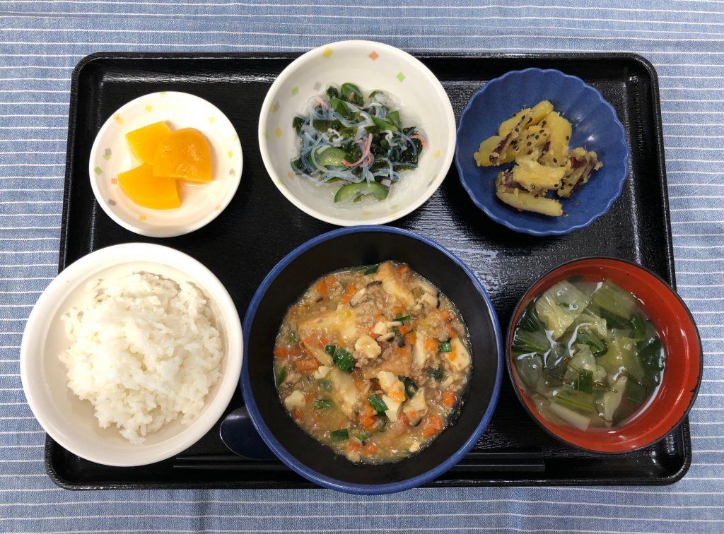 きのうのおひるごはんは、家常豆腐・春雨の酢の物・大学芋煮・みそ汁・くだものでした。