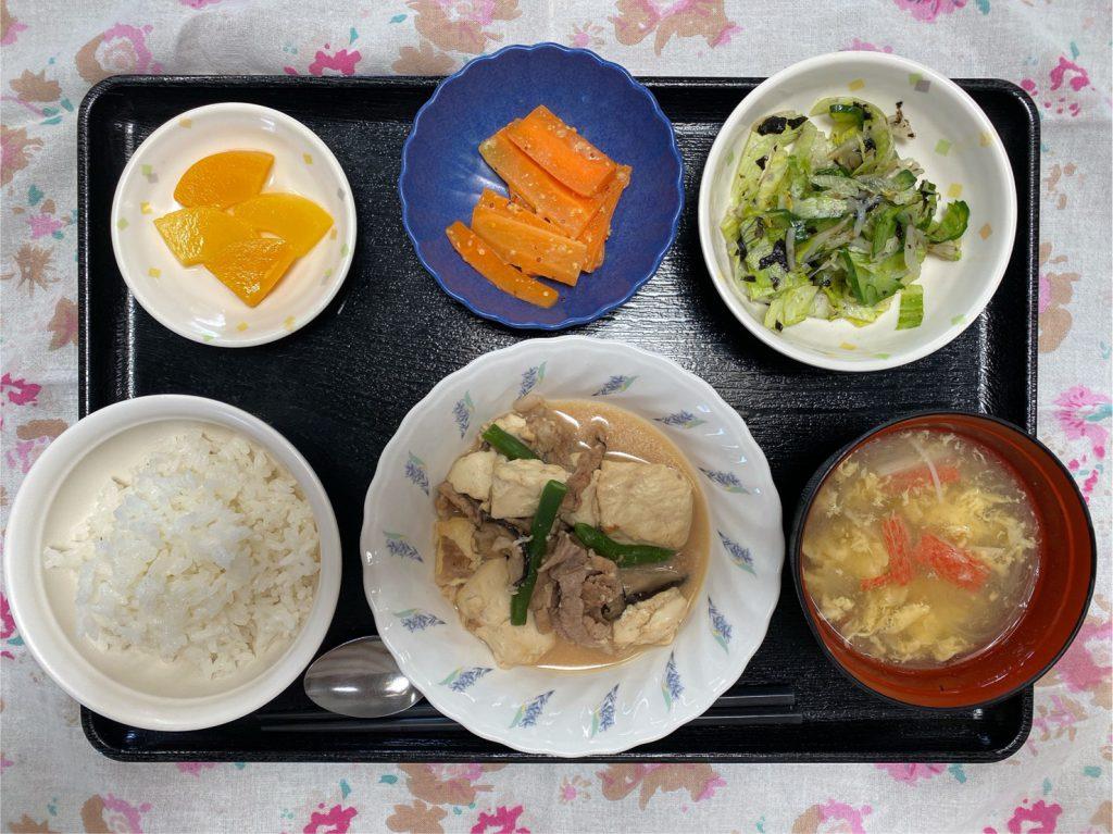 4月9日のお昼ごはんは、豆腐と豚肉のオイスターソース煮・焼きのりサラダ・人参の粒マスタード・みそ汁でした。