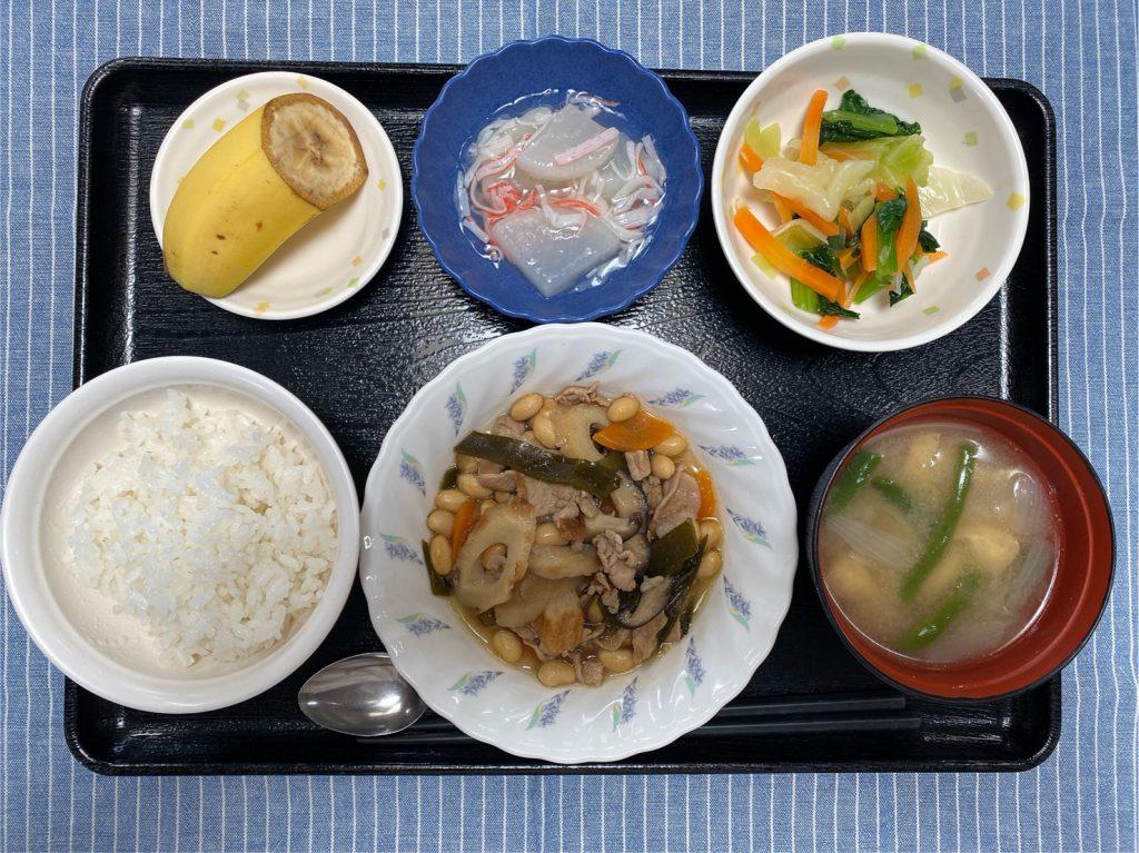 きょうのお昼ごはんは、大豆五目煮・生姜和え・大根のくずあん・みそ汁・果物でした。
